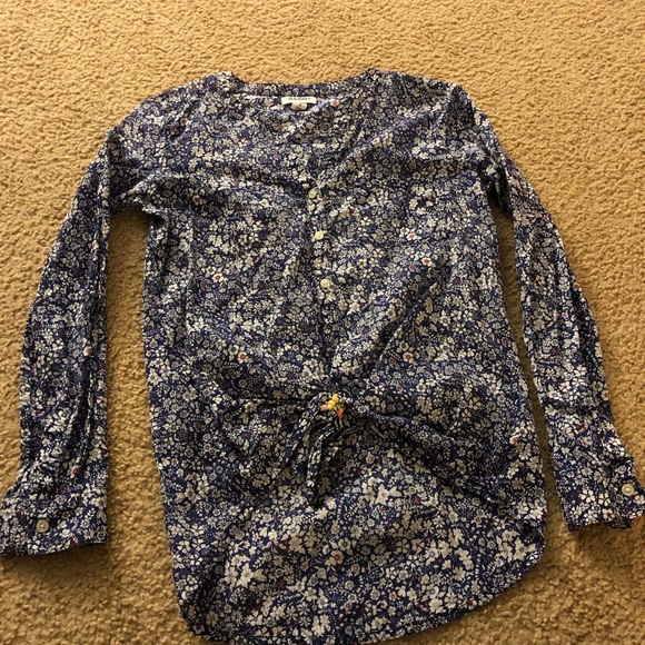 Old Navy Tops - Blue flower-print top with tie front.